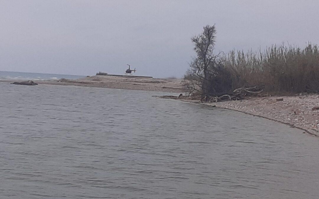 El Consorci gestor del Paisatge Protegit de la Desembocadura del riu Millars denuncia la presència d'un helicòpter sobrevolant i aterrant en l'espai fluvial