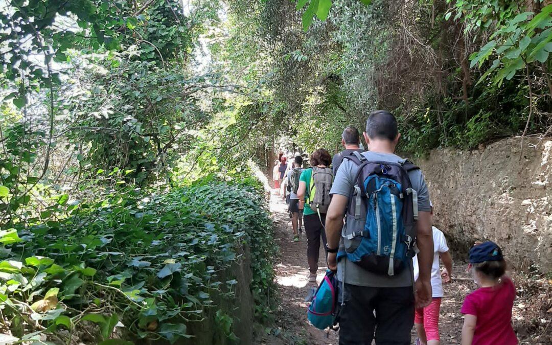 Vint persones recorren a peu la senda del botànic Calduch dins del cicle de rutes organitzades pel consorci gestor del Paisatge Protegit de la Desembocadura del riu Millars